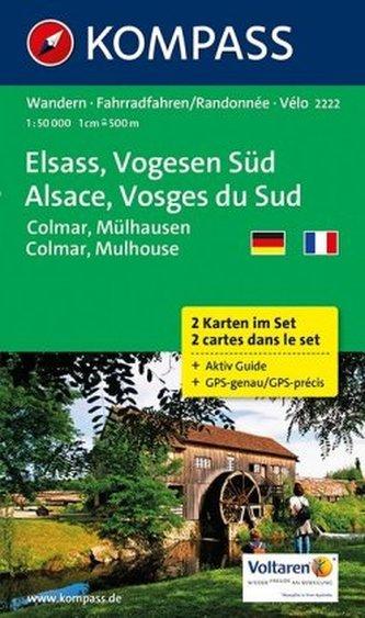 Kompass Karte Elsass, Vogesen Süd, 2 Bl.. Alsace, Vosges du Sud