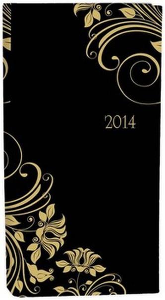 Diář A6 LYRA týdenní černo zlatý 2014