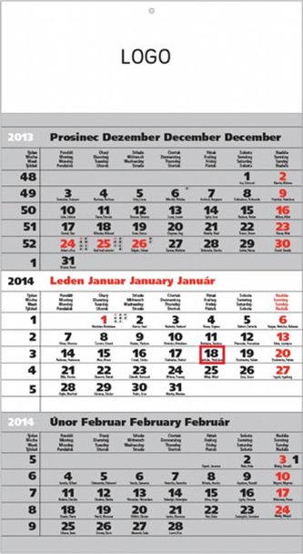 Standard šedý 3měsíční s českými jmény - nástěnný kalendář 2014
