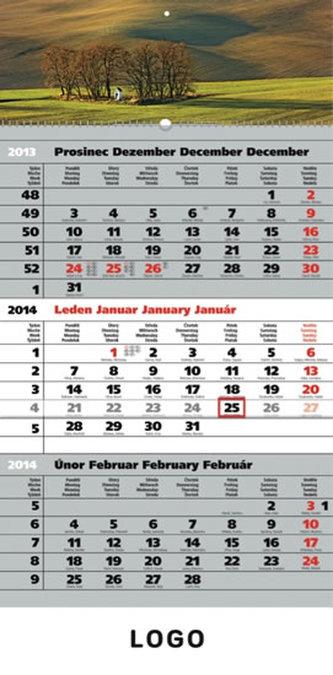 Kalendář 2014 - Krajina šedý 3měsíční s českými jmény - nástěnný s prodlouženými zády
