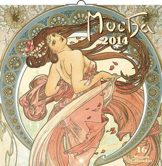Kalendář 2014 - Alfons Mucha - nástěnný poznámkový (ANG, NĚM, FRA, ITA, ŠPA, HOL)