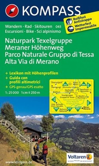 Kompass Karte Naturpark Texelgruppe, Meraner Höhenweg. Parco Naturale Gruppo di Tessa, Alta Via di Merano