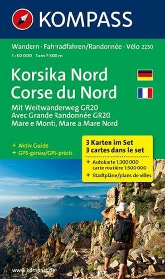 Kompass Karte Korsika Nord, 3 Bl.. Corse du Nord
