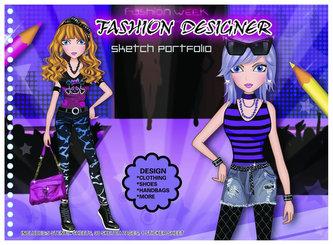 Fashion Girl kreativní skicák - Módní návrhy (fialová)