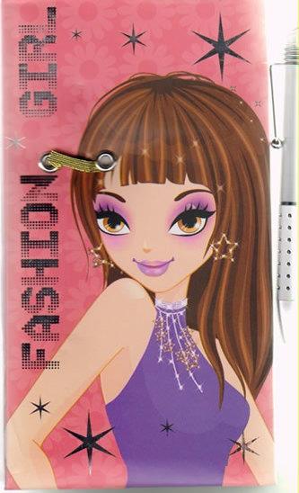 Fashion Girl - Deník s perem (bruneta)