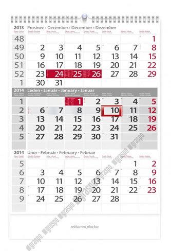 Kalendář 2014 - Tříměsíční šedý - nástěnný
