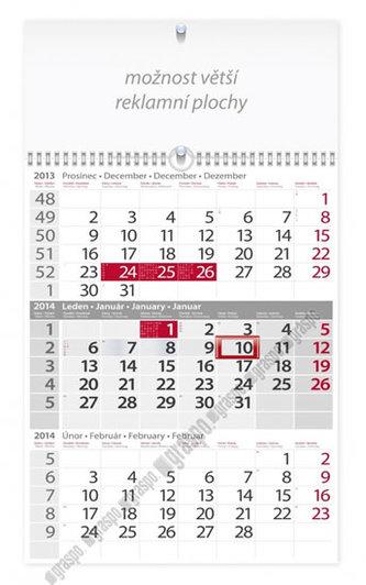 Kalendář 2014 - Tříměsíční šedý s reklamní plochou - nástěnný