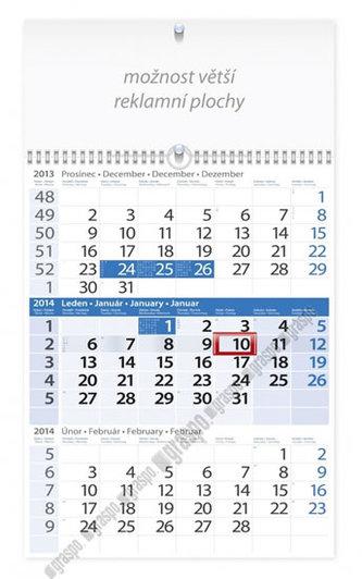 Kalendář 2014 - Tříměsíční modrý s reklamní plochou - nástěnný