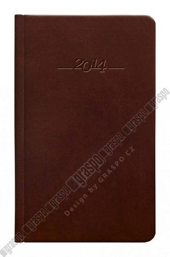 Diář 2014 - CARUS hnědý kapesní - kožený týdenní