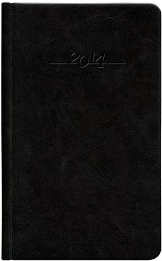 Diář 2014 - CARUS černý kapesní - kožený týdenní