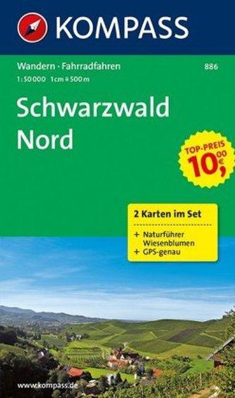 Kompass Karte Schwarzwald Nord, 2 Bl.