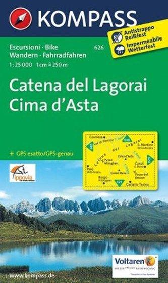 Kompass Karte Catena del Lagorai, Cima d' Asta