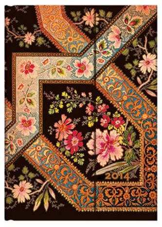 Diář 2014 - Filigree Floral Ebony midi (12-měsíční verso Week-at-a-Time)