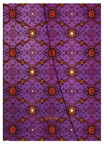 Diář 2014 - French Ornate Violet midi (12-měsíční horizontal Week-at-a-Time)