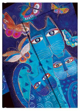 Diář 2014 - Blue Cats & Butterflies midi (12-měsíční verso Week-at-a-Time)