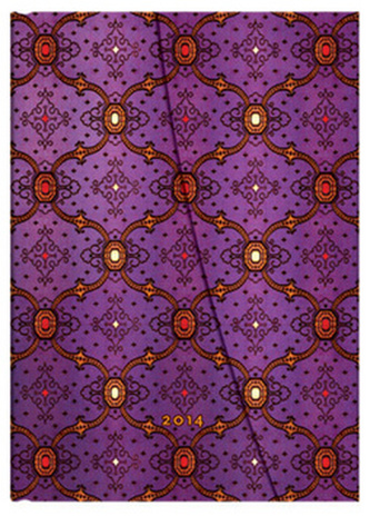 Diář 2014 - French Ornate Violet midi (12-měsíční verso Week-at-a-Time)