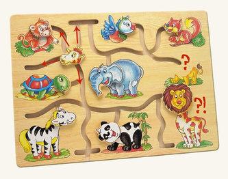 Motorický labyrint- Najdi hlavu zvířátka - Africa