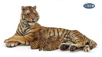Ležící tygřice + 3 mláďta