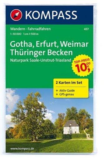 Kompass Karte Gotha, Erfurt, Weimar, Thüringer Becken,  2 Bl.