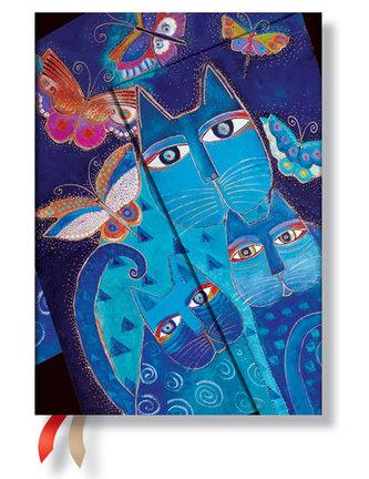 Diář 2015 - Blue Cats & Butterflies midi (12-měsíční horizontal Week-at-a-Time)