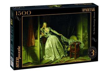 Puzzle 1500 Fragonard Kradmý polibek (ze sbírek ruských muzeí)
