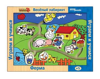 Hra ze dřeva Veselé bludiště Farma