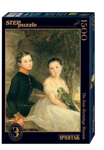 Puzzle 1500 Robertson Děti s papouškem (ze sbírek ruských muzeí)