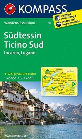 Kompass Karte Südtessin. Ticino Sud