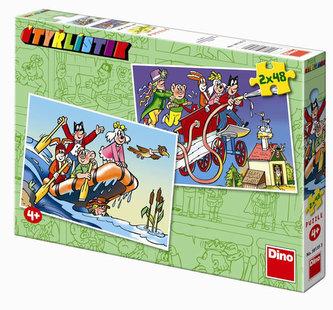 Čtyřlístek - puzzle 2 motivy v balení 2x48 dílků