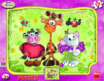 Krkouni - rámové puzzle 12 dílků s tvary