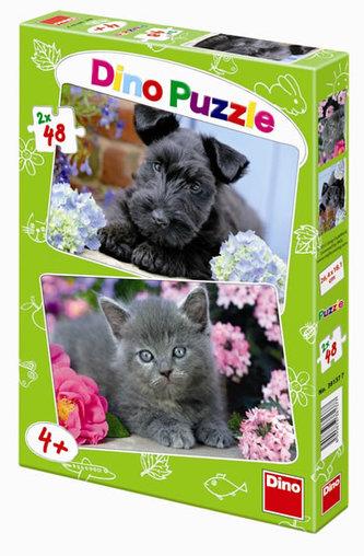 Pejsek a Kočička - puzzle 2 motivy v balení 2x48 dílků