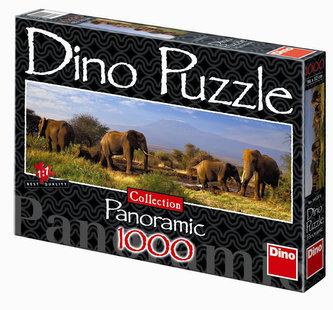 Stádo slonů - puzzle Panoramic 1000 dílků