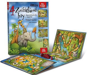 4 zvířátkové hry - Leporelo herních plánů s kostkou a figurkami pro zábavné učení zvířátek a logopedie - Lucie Ernestová