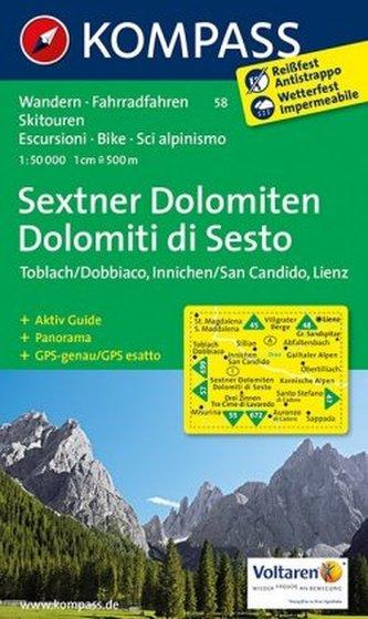 Kompass Karte Sextner Dolomiten. Dolomit di Sesto