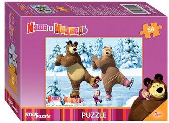 Puzzle mini 54 Máša a Medvěd - Na bruslích