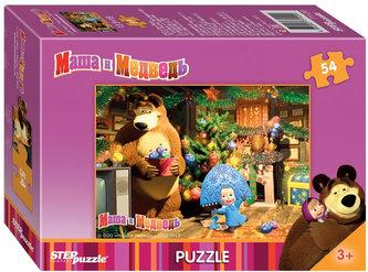 Puzzle mini 54 Máša a Medvěd zdobí stromek