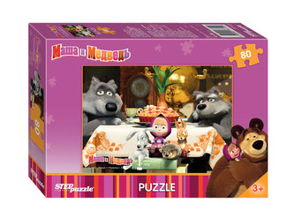 Puzzle 80Máša a Medvěd - Zvěřinec na návštěvě