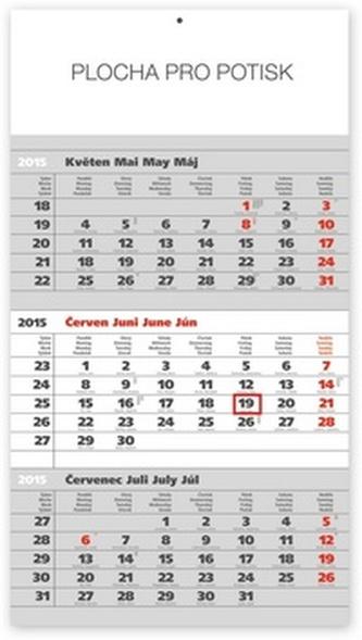 Kalendář 2015 - Standard šedý 3měsíční s českými jmény - nástěnný s prodlouženými zády