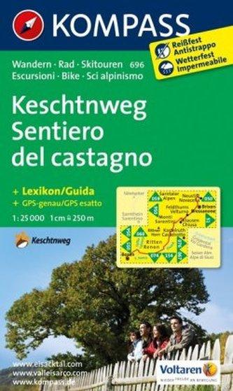 Kompass Karte Keschtnweg. Sentiero del castagno