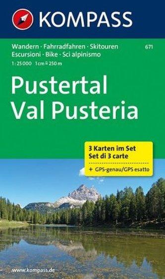 Kompass Karte Pustertal - Val Pusteria, 3 Karten im Set