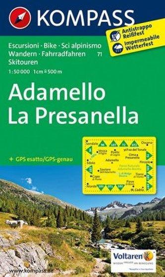 Kompass Karte Adamello, La Presanella
