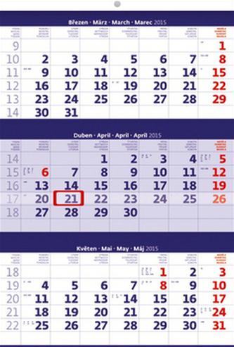 Tříměsíční modrý - nástěnný kalendář 2015