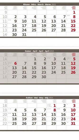 Kalendář nástěnný 2015 - Tříměsíční skládaný šedý