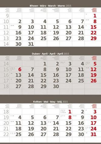 Kalendář nástěnný 2015 - Tříměsíční šedý