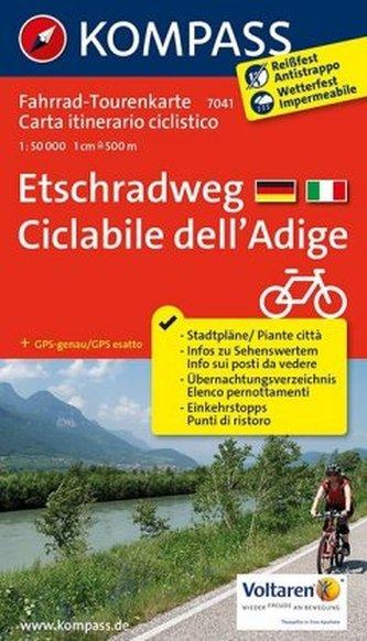 Kompass Fahrrad-Tourenkarte Etschradweg. Ciclabile dell'Adige