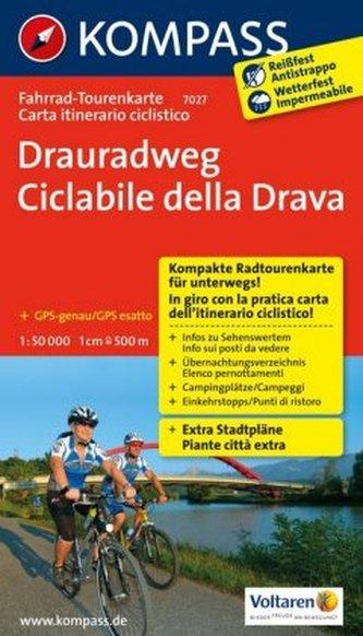 Kompass Fahrrad-Tourenkarte Drauradweg. Ciclabile della Drava