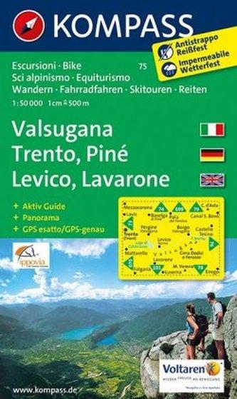 Kompass Karte Valsugana, Trento, Piné, Lévico, Lavarone