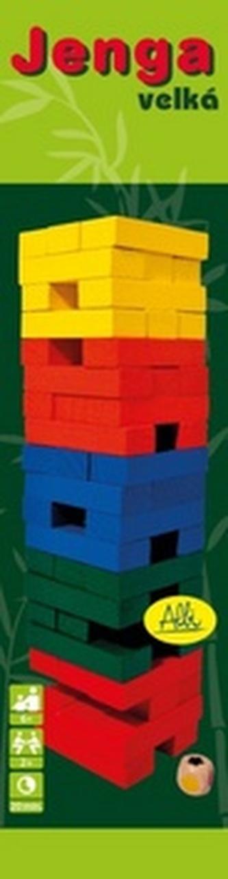 Jenga barevná s kostkou