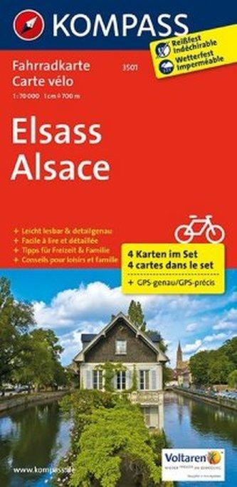 Kompass Fahrradkarte Elsass, 4 Bl.. Alsace