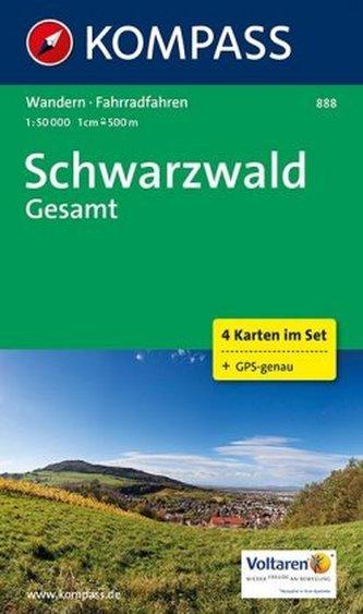 Kompass Karte Schwarzwald gesamt, 4 Bl.
